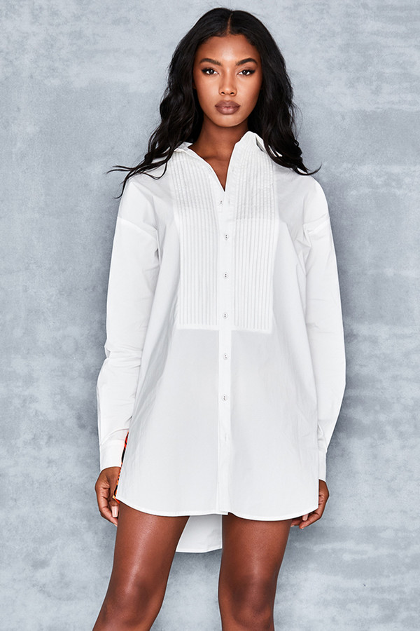 Heaven Sent White Cotton Oversized Tux Shirt
