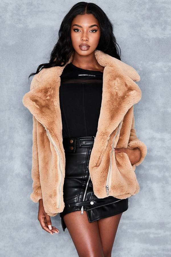 Live It Up Camel Fur Biker Jacket