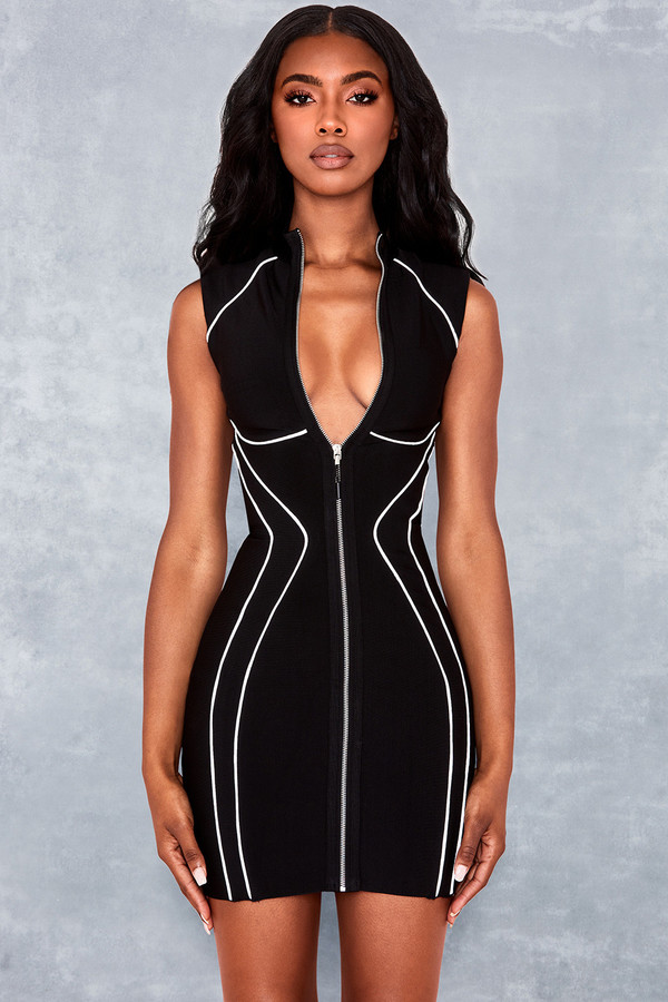 Side Eye Black Piped Bandage Mini Dress