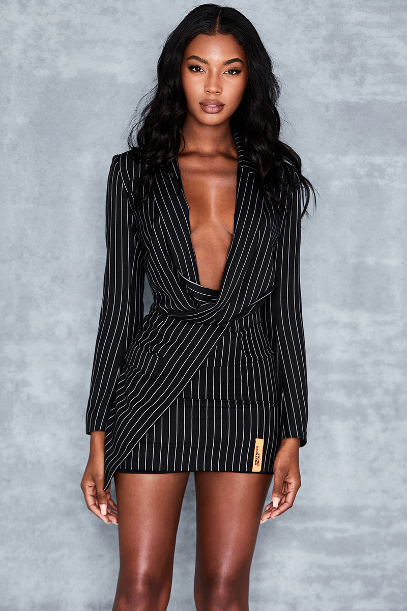 Black Pinstripe Draped Jacket by Mistress Rocks