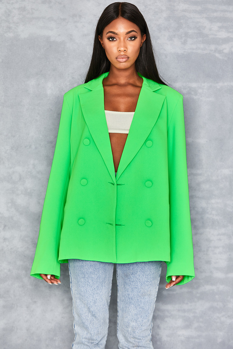 Business As Usual Neon Green Oversized Blazer
