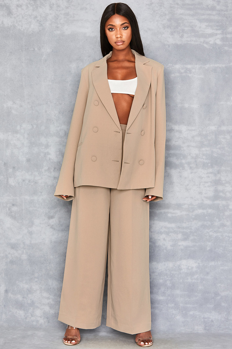 Touch Base Tan Wide Leg Trousers