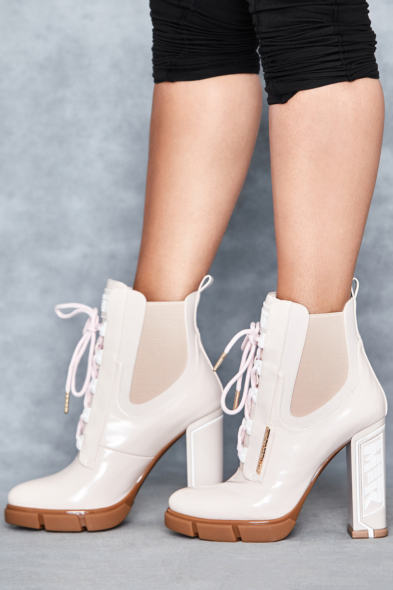 Potent Ivory Patent Heeled Work Boots