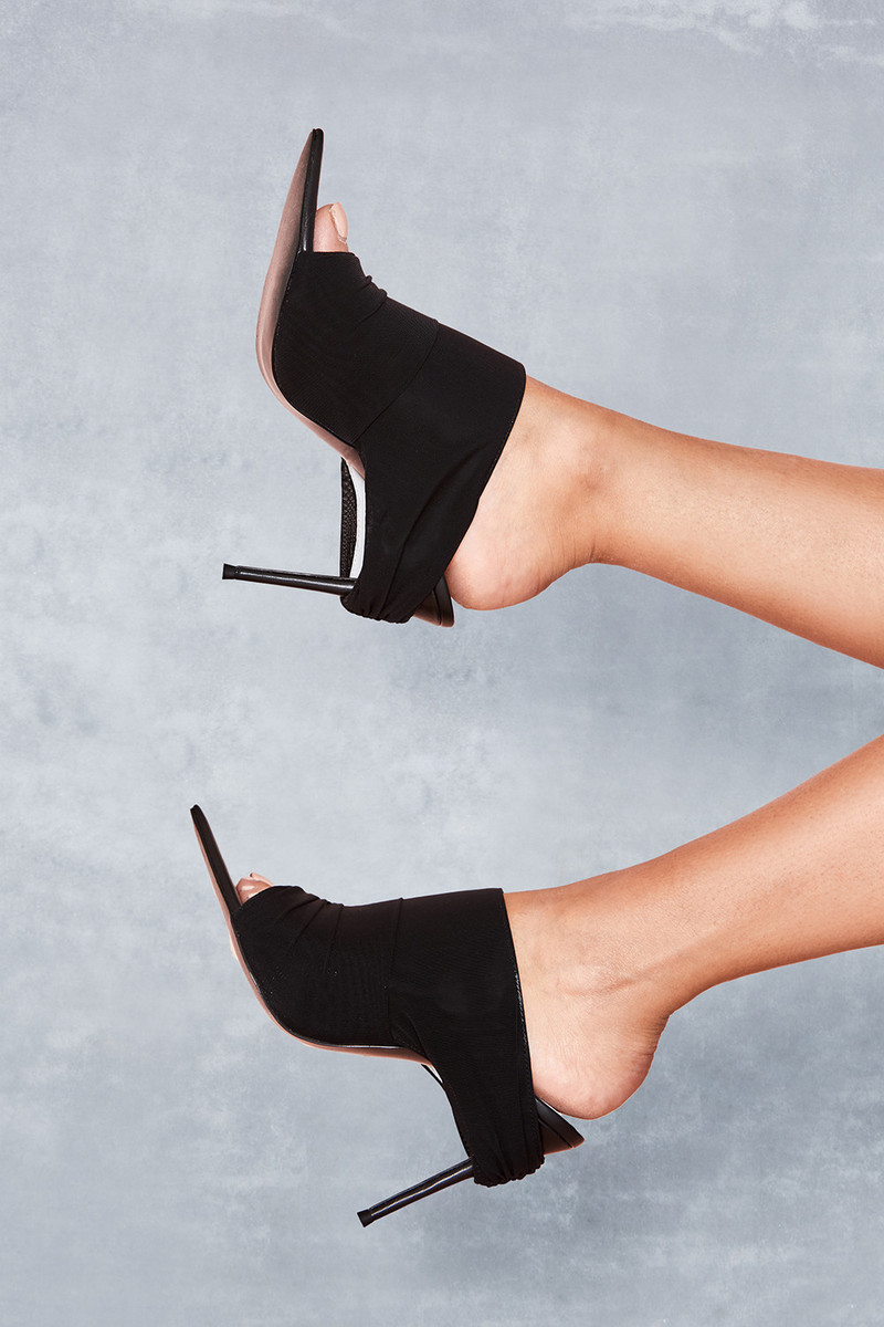 Abyss Black Power Mesh Mules