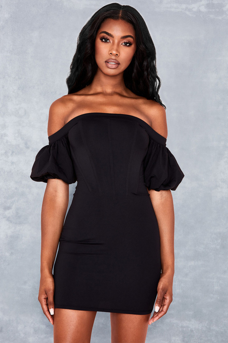 First Date Black Off Shoulder Corset Dress