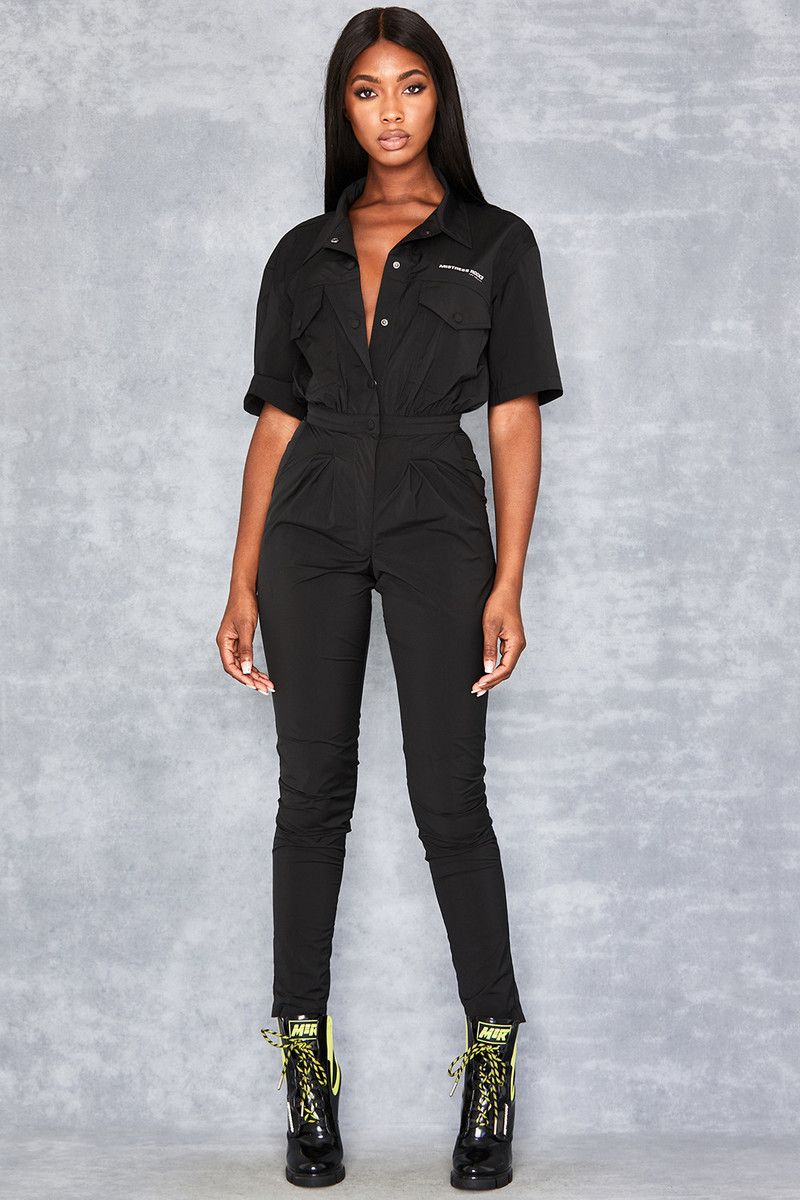 Black Tech Nylon Jumpsuit by Mistress Rocks
