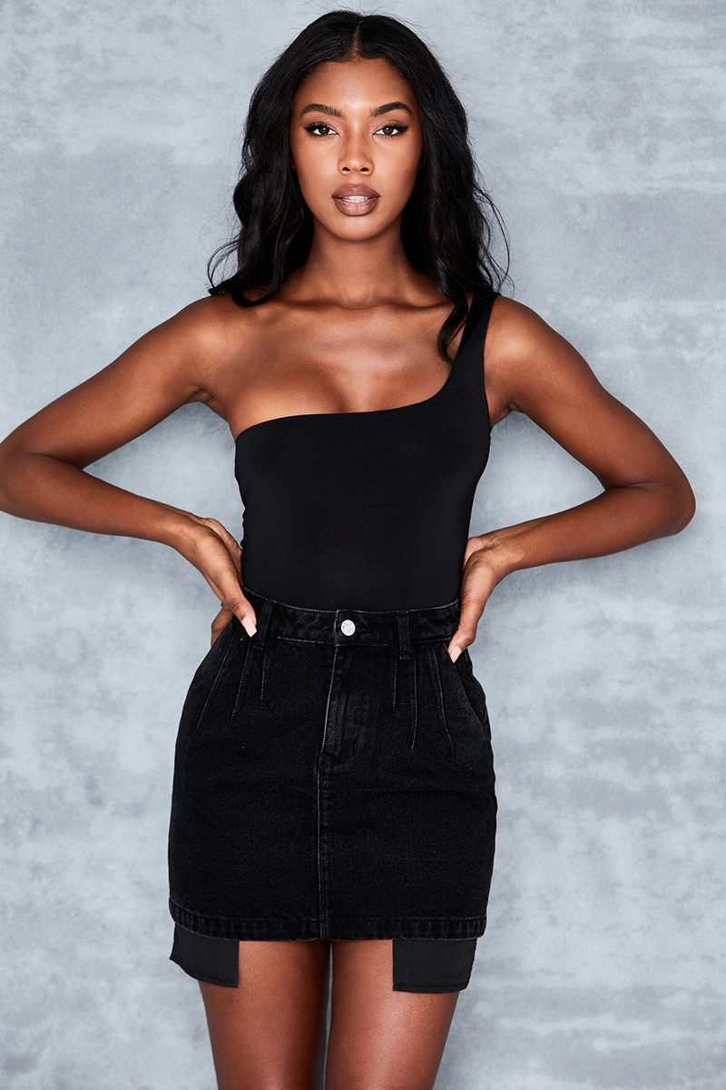 Heads Up Black Stonewash Denim Mini Skirt