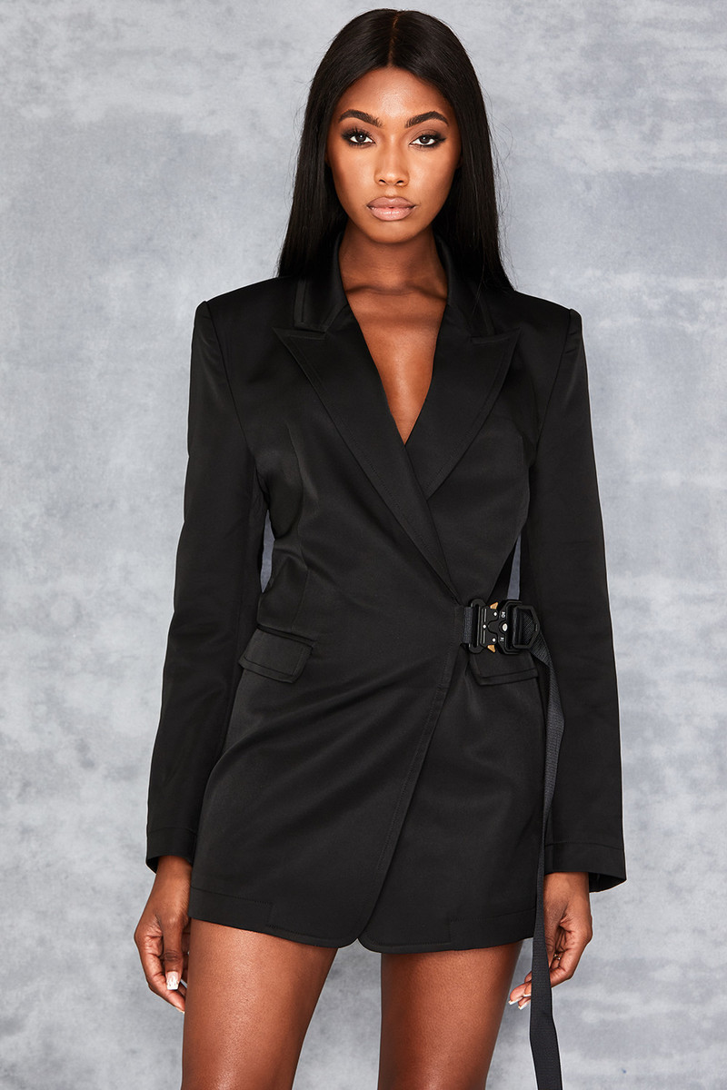 Learn The Ropes Black Oversized Blazer Dress
