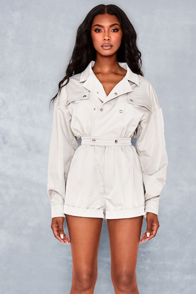 Parallel Ecru Twill Playsuit