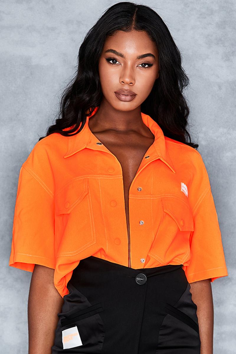 Piece Of Cake Neon Orange Oversized Shirt
