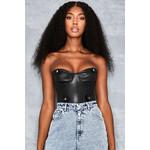 Check List Black Vegan Leather Corset