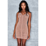 Sweet Spot Blush Lurex Drawstring Mini Dress