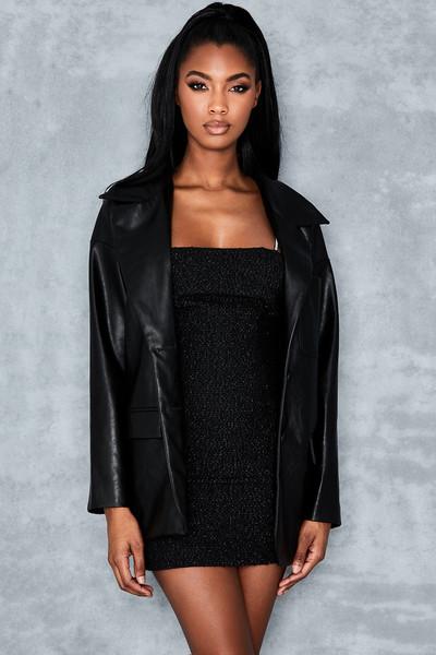 Alpha Black Oversized Vegan Leather Jacket