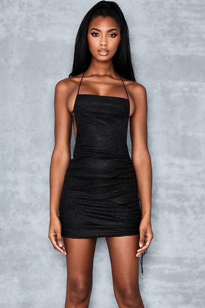 Background Black Strappy Dress
