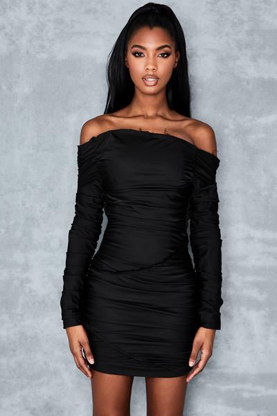 Cult Status Black Ruched Mini Dress