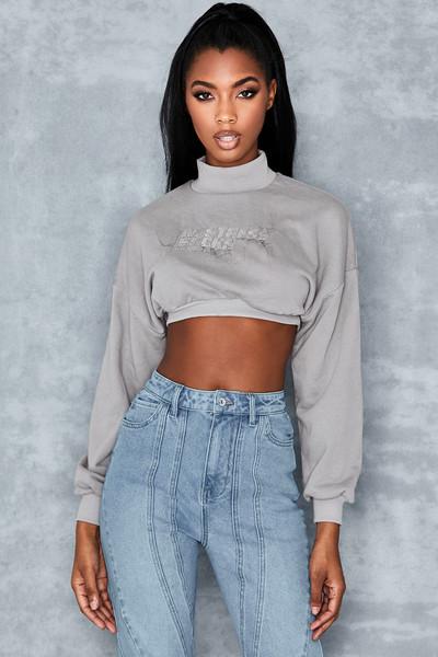 Culture Grey Cropped Sweatshirt