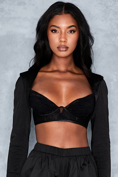 Decisions Black Long Sleeve Tailored Bralette