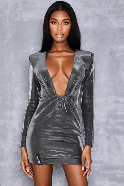 Origin Grey Gloss Jersey Draped Dress