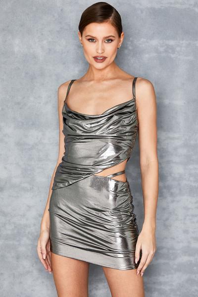 Next Up Metallic Silver Mini Skirt