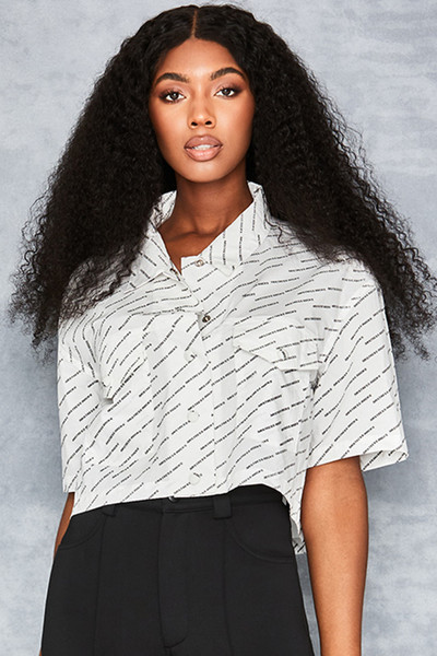 Vacation White Branded Cropped Shirt