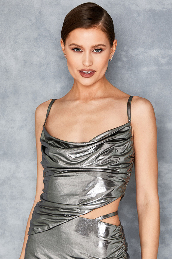Sweet Thing Metallic Silver Ruched Top