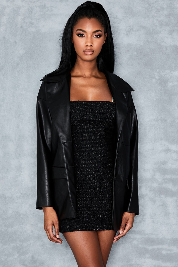 Alpha Black Oversized Vegan Leather Jacket