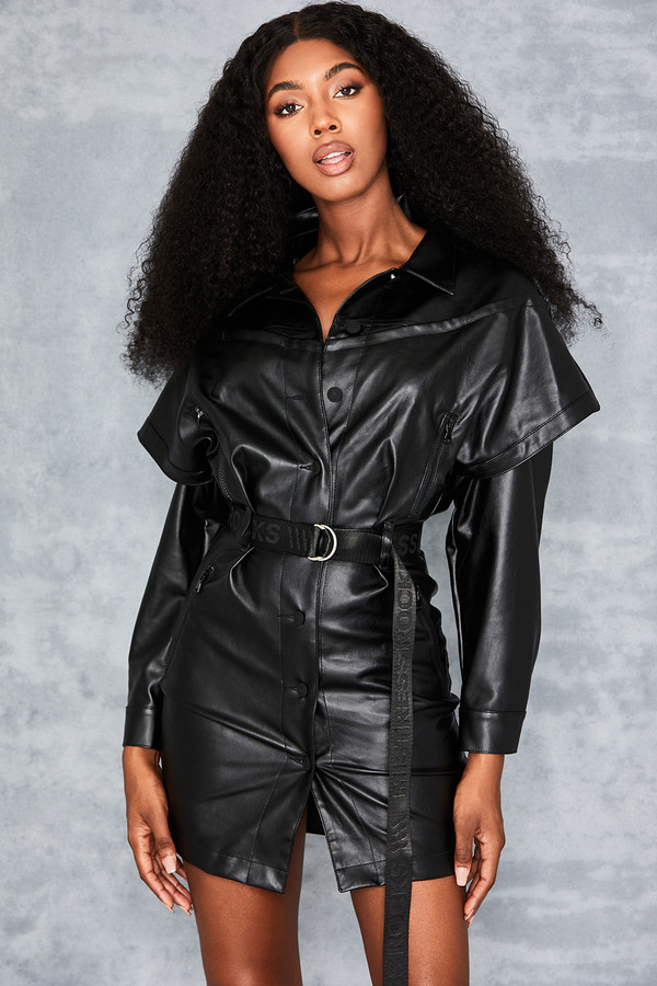 Bespoke Black Vegan Leather Biker Jacket Dress