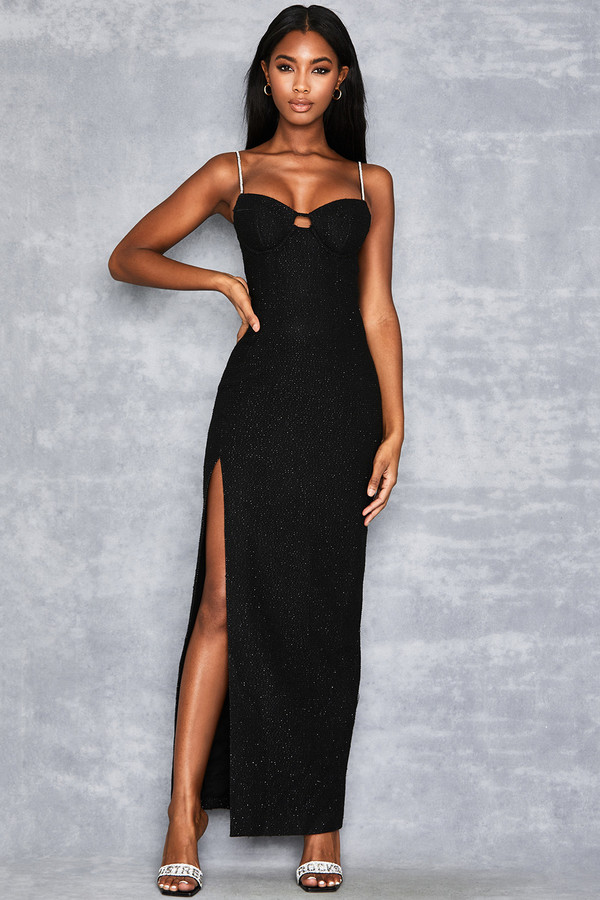'Debutante' Black Crystal Strap Maxi Dress