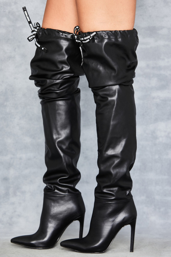 Perfection Black Over Knee Drawstring Boots
