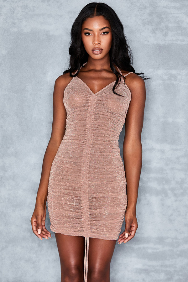 Sweet Spot Blush Lurex Drawstring Mini Dress