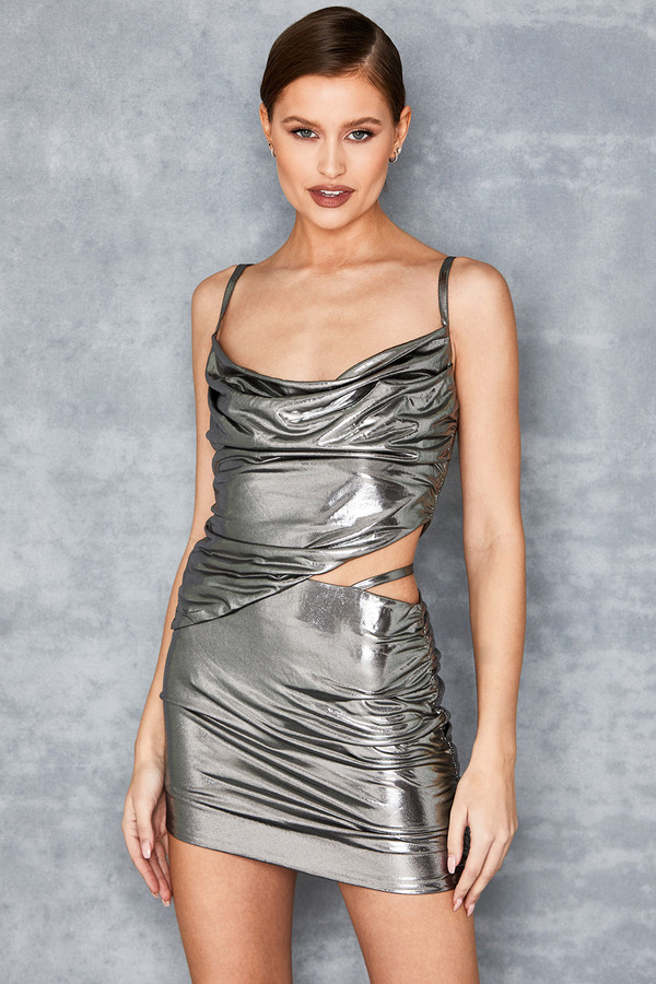 Next Up Metallic Silver Mini Skirt