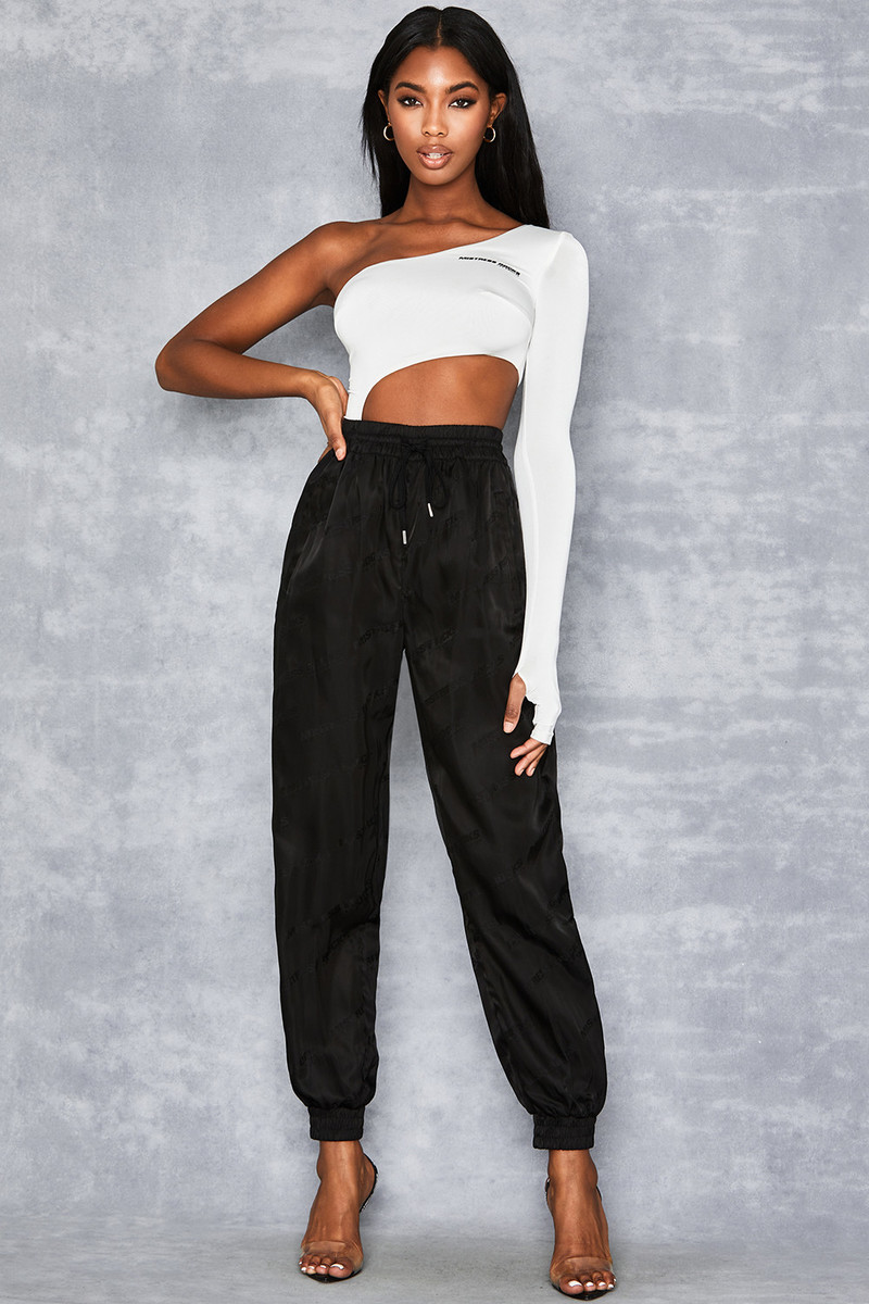 Oasis Black Satin Monogram Joggers