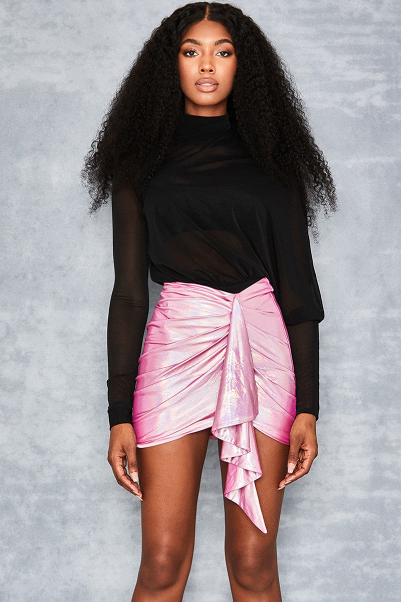 Chances Holographic Pink Ruffle Skirt