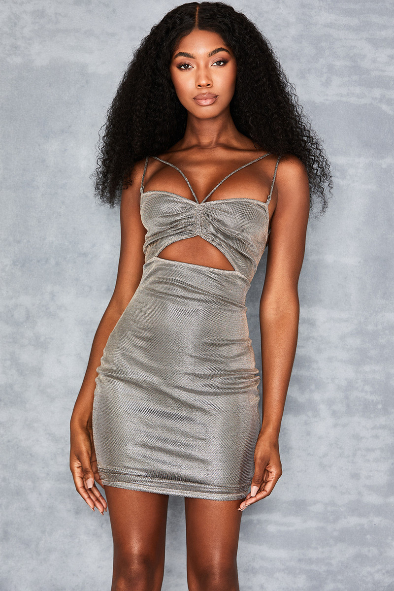 Scheme Metallic Silver Strappy Dress