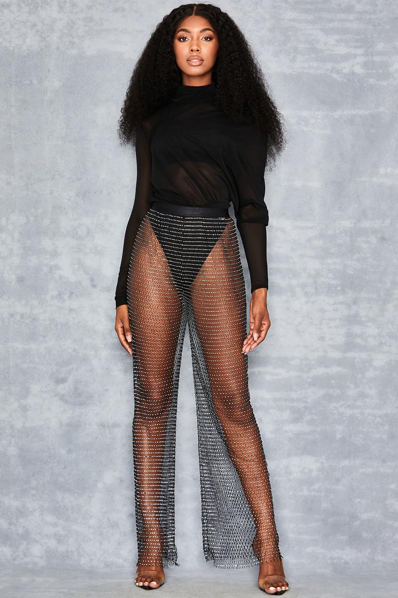 Nightfall Black Sheer Crystal Mesh Trousers