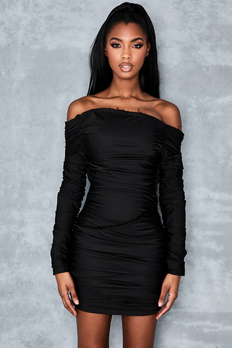 Cult Status Black Ruched Mini Dress