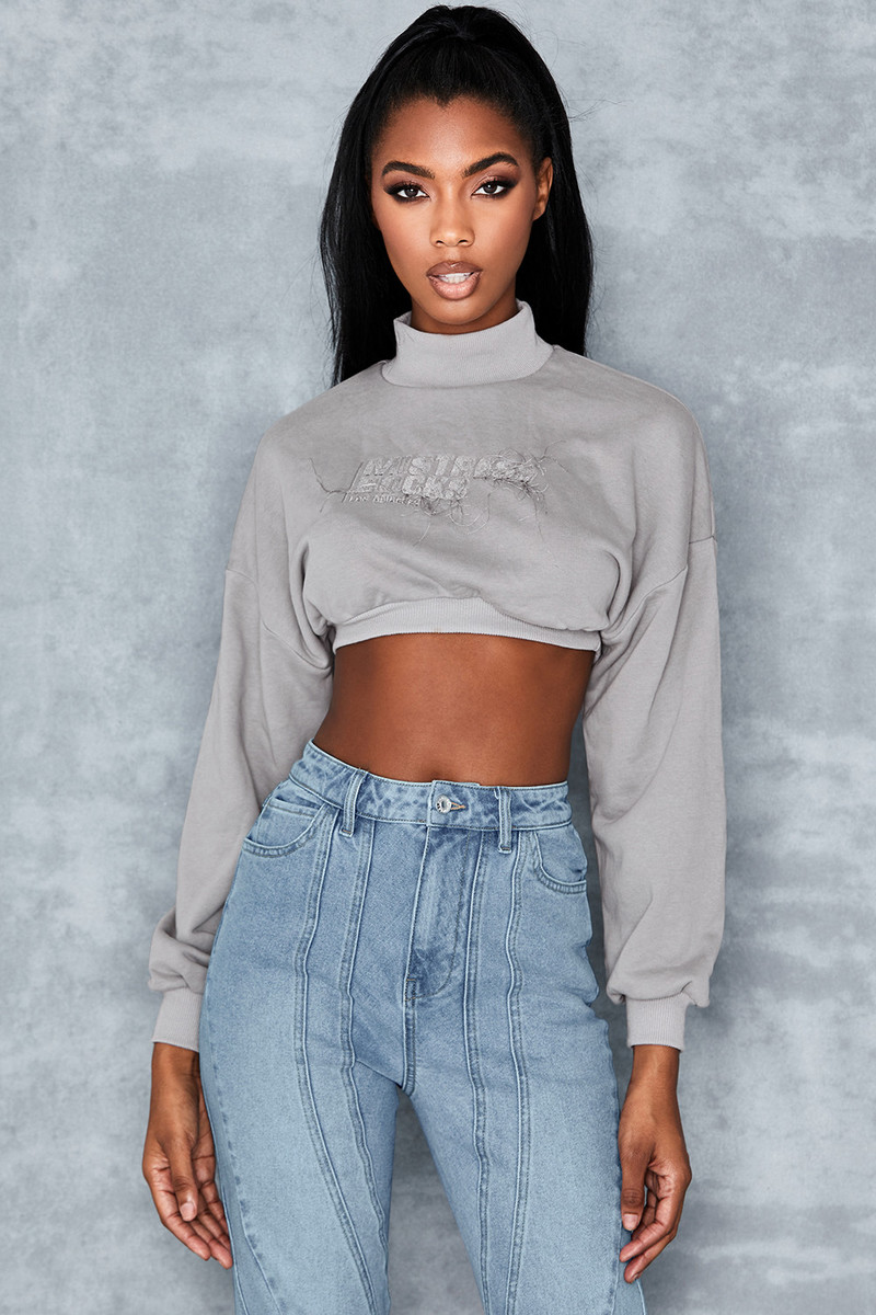 Culture Grey Cropped Sweatshirt