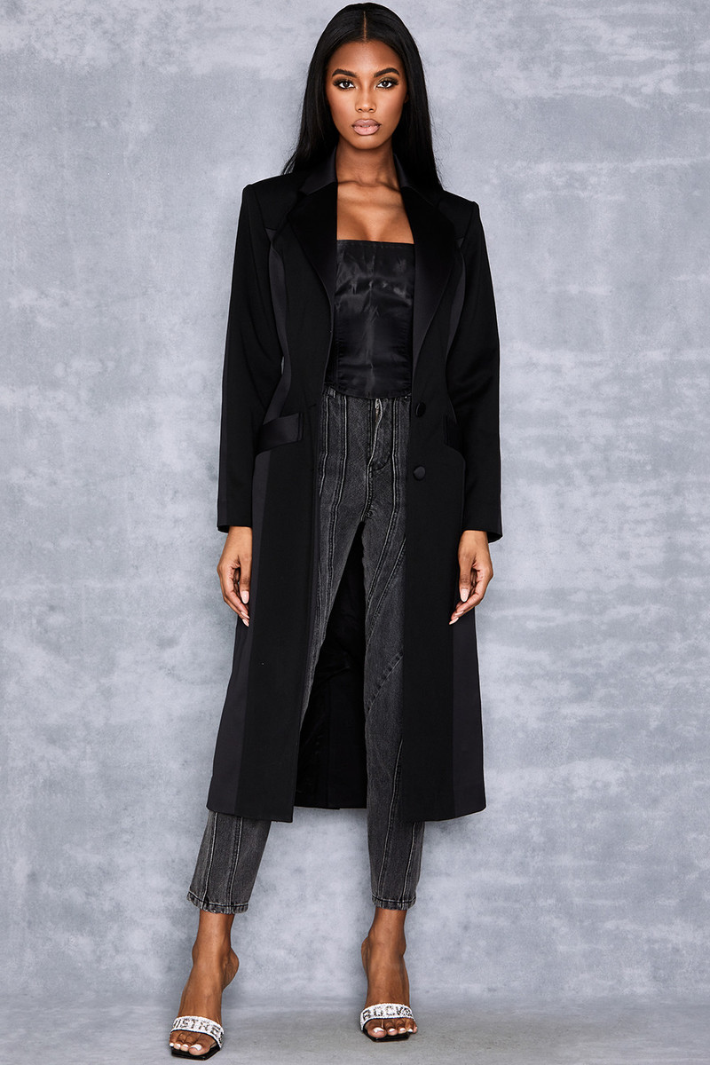 Debut Black Long Panelled Coat