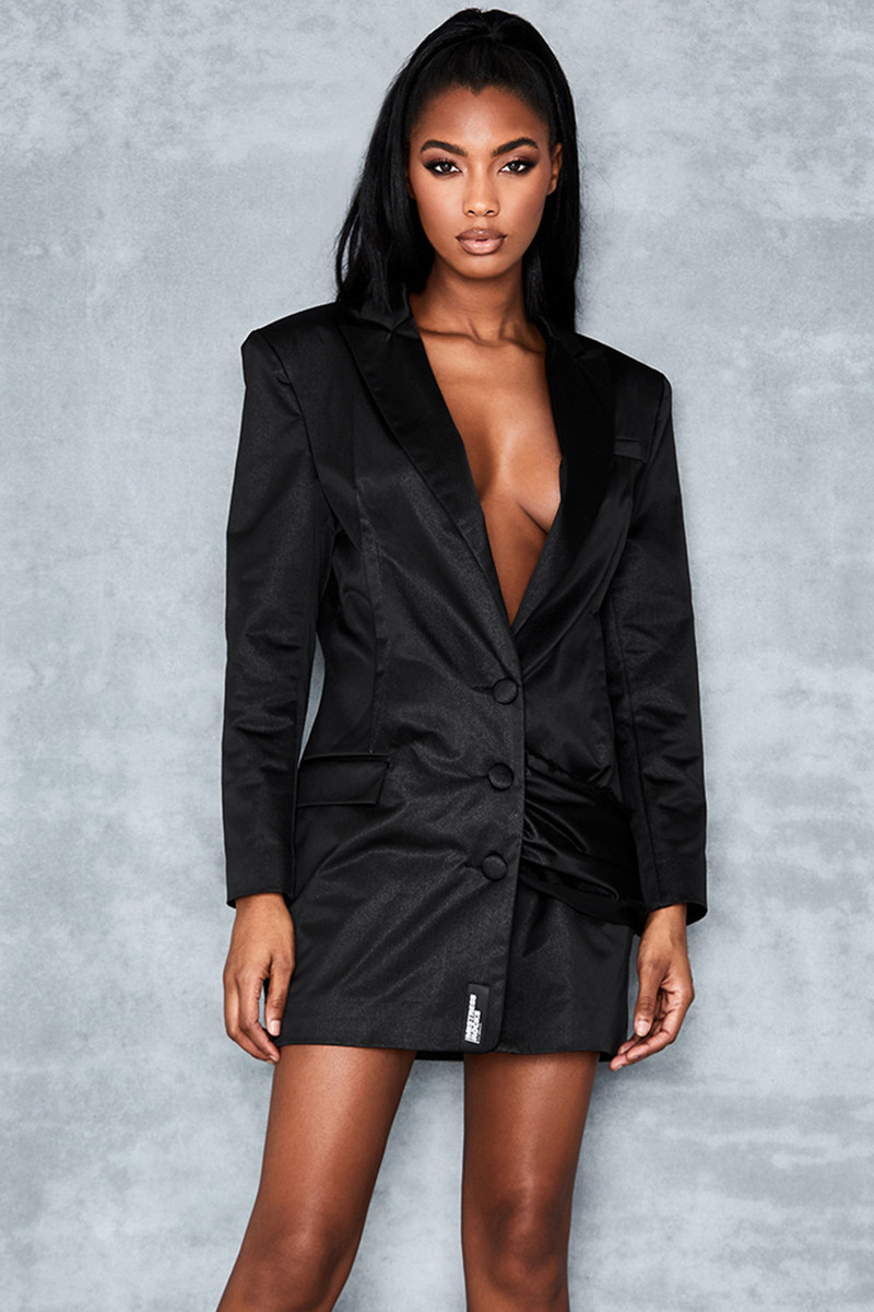 Desire Black Satin Side Drape Blazer Dress