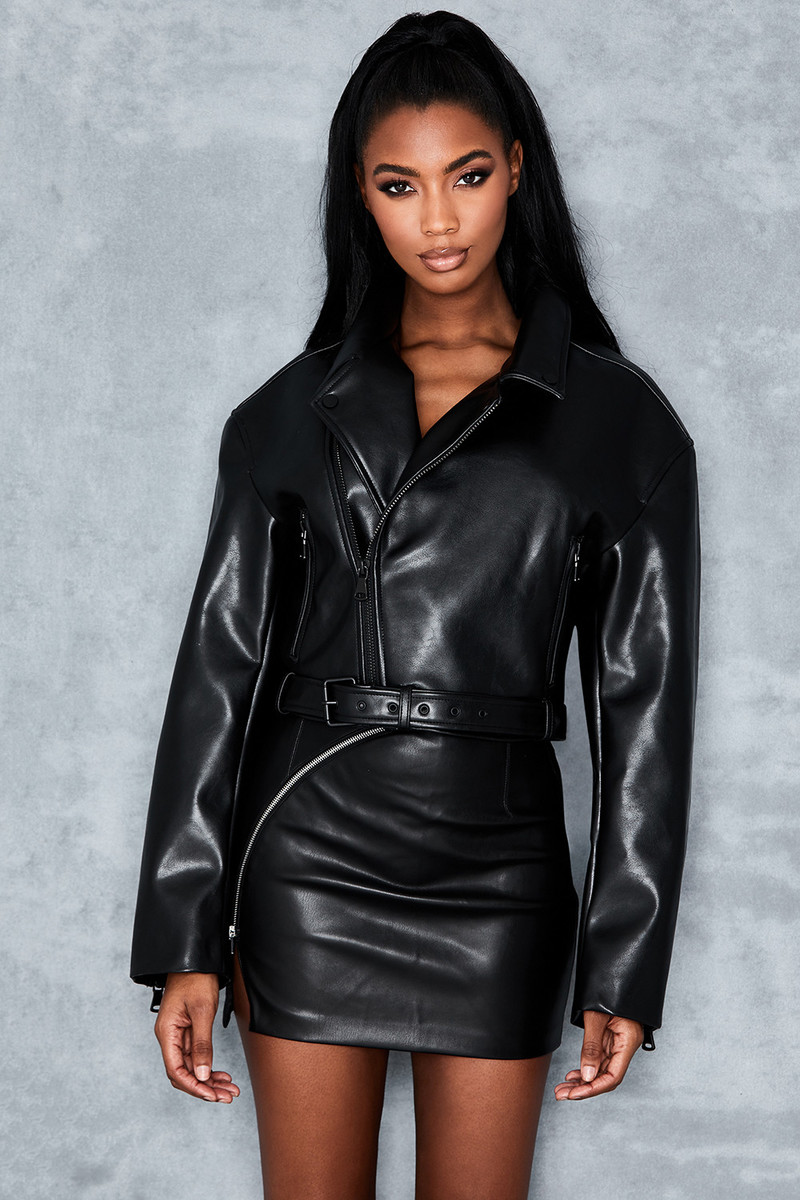 Inception Black Cropped Biker Jacket