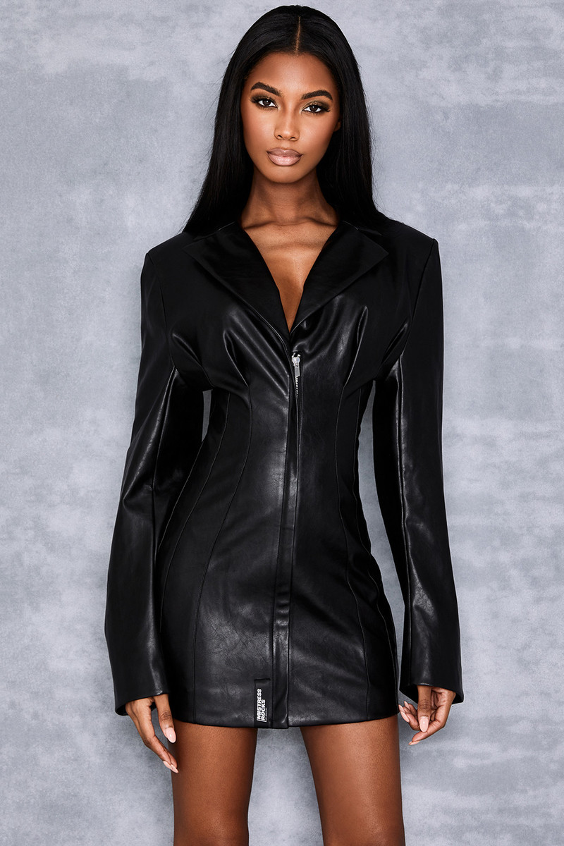 Majesty Black Vegan Leather Tux Dress
