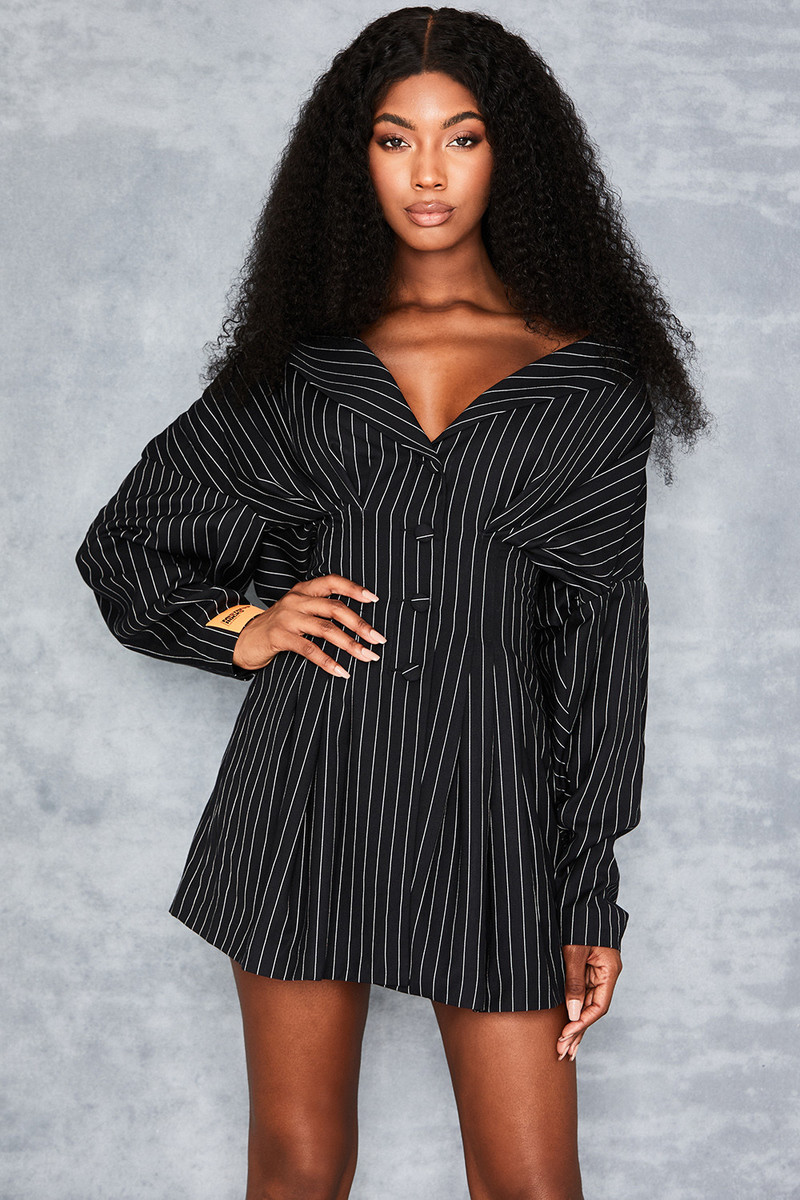 Make It Quick Black Pinstripe Dress