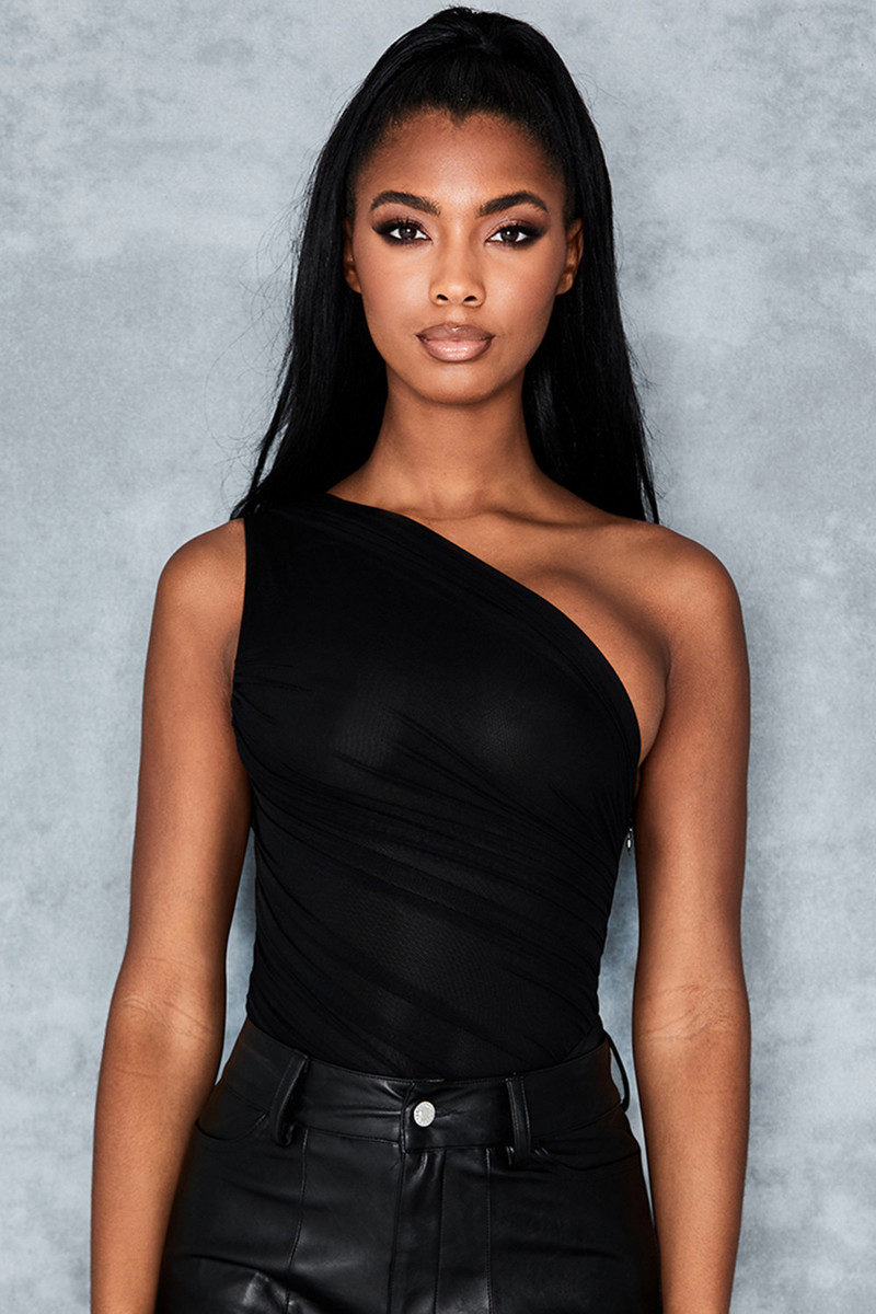 Halo Black Draped Mesh Bodysuit