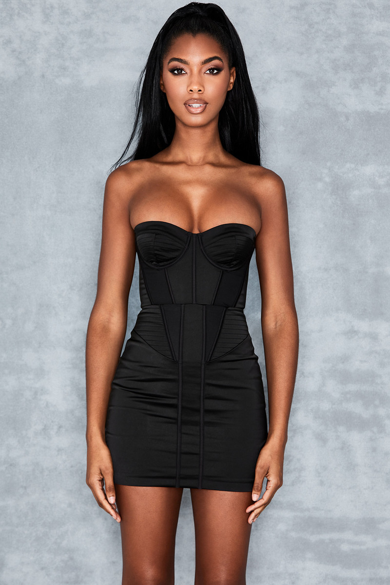 Pose Black Satin Twill Corset Dress