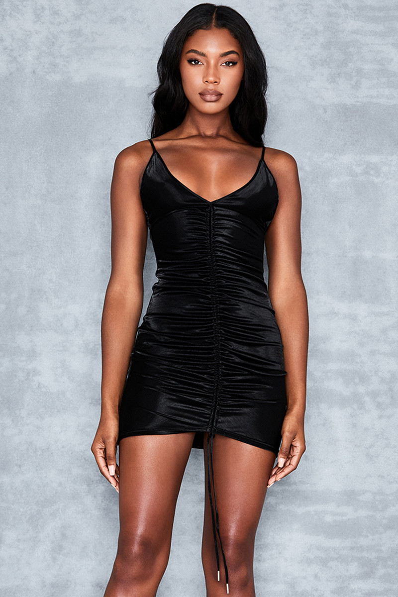 Shine Bright Black Gloss Jersey Mini Dress