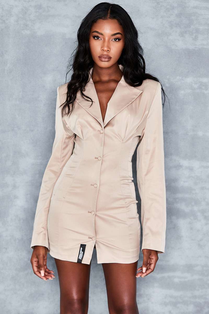 Too Late Stone Tailored Blazer Dress