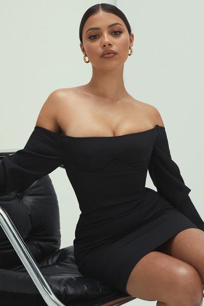 Honey Black Bardot Corset Dress