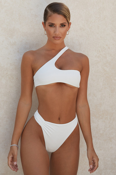 'Borneo' White Asymmetric Bikini