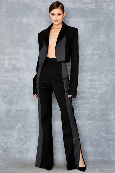 Wild Black Flared Contrast Panel Trousers