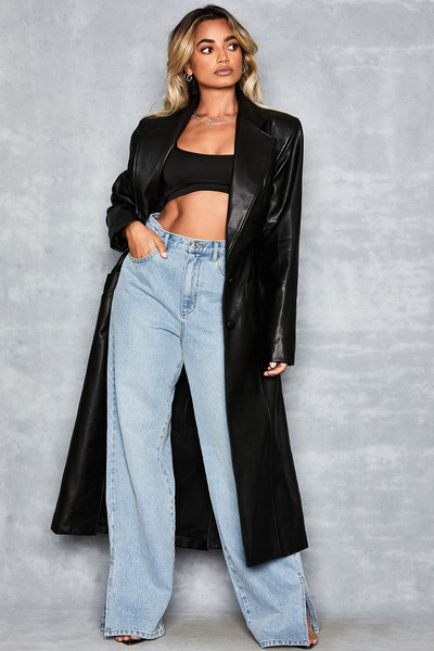 Rollin Vegan Leather Maxi Coat